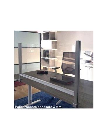 Schermo protettivo da scrivania H60xL82cm con morsetto alluminio silver
