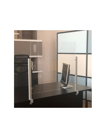Schermo protettivo da scrivania Slim H70xL80cm con morsetto alluminio silver